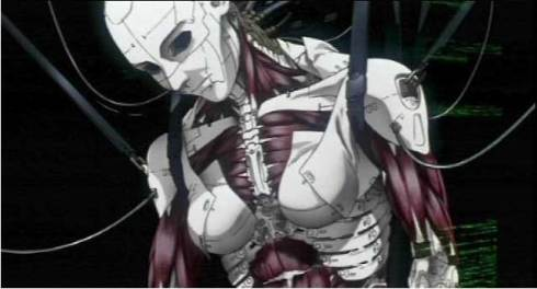 "A cyborg as pictured in the cartoon ""Ghost in the Shell"""